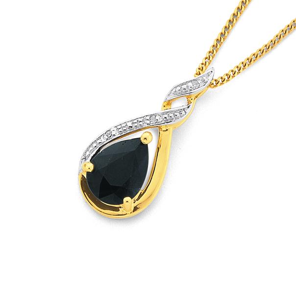 9ct Gold, Sapphire & Diamond Pendant