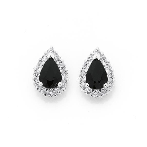 9ct Gold Sapphire & Diamond Studs