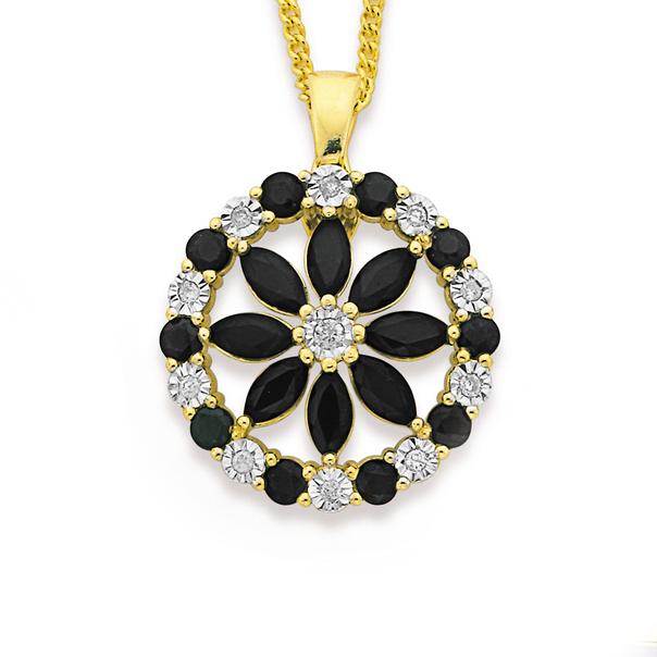 9ct Gold, Sapphire & Diamond Wreath Enhancer Pendant