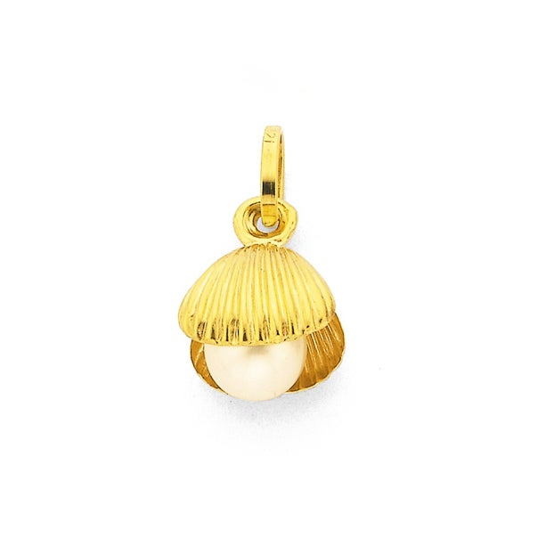 9ct Gold, Shell with Pearl Charm