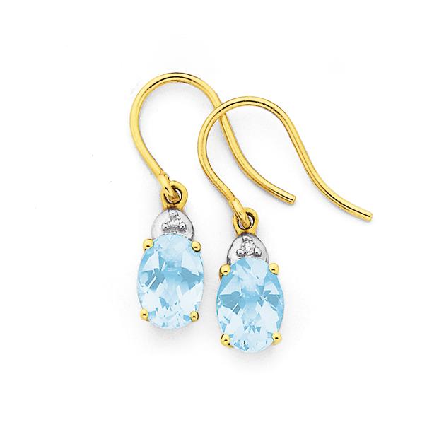 9ct Gold Sky Blue Topaz & Diamond Oval Cut Chequered Hook Earrings