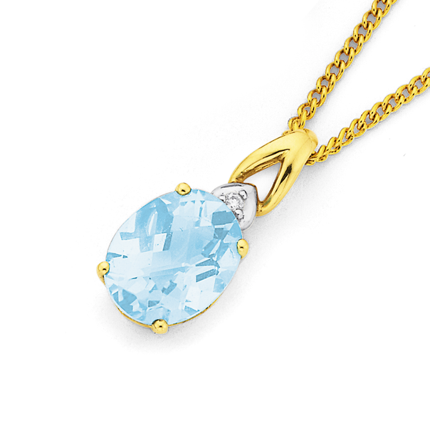9ct Gold Sky Blue Topaz & Diamond Oval Cut Chequered Pendant
