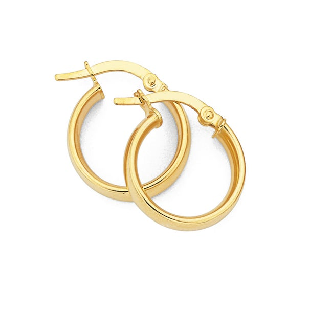 9ct Gold, Small Half Round Hoops 12mm