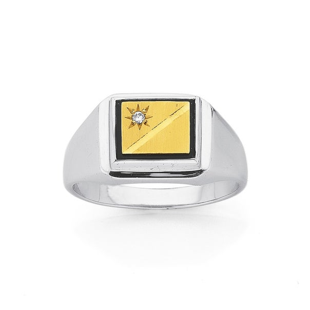 9ct Gold, & Sterling Silver Diamond & Onyx Gents Ring