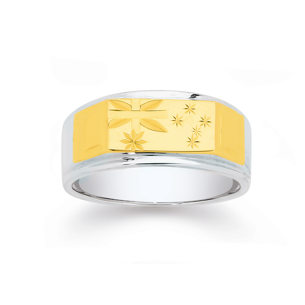 9ct Gold & Sterling Silver Southern Cross Gents Ring