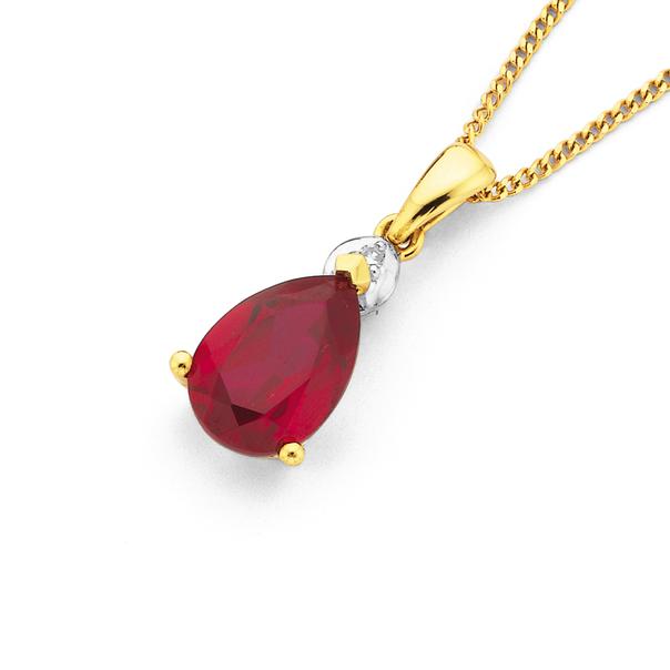 9ct Gold, Synthetic Ruby & Diamond Pendant
