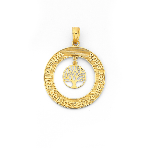 9ct Gold Tree of Life Message Circle Pendant