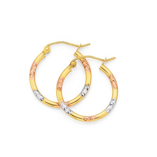 9ct Gold Tri Tone 2x15mm Striped Hoop Earrings