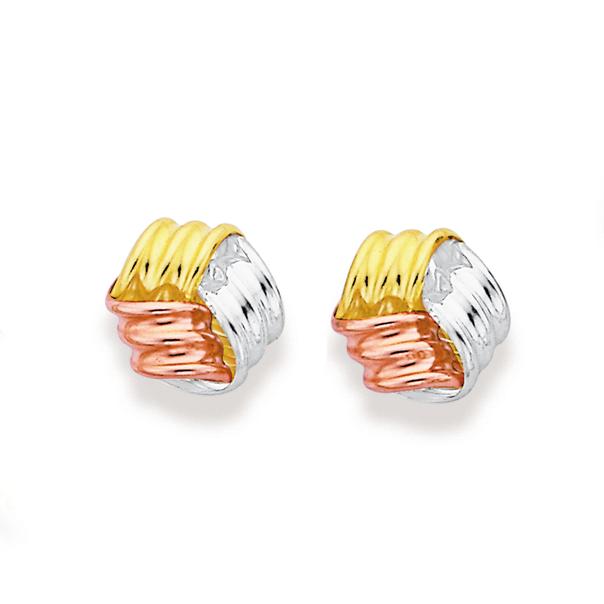 9ct Gold Tri Tone Knot Stud Earrings
