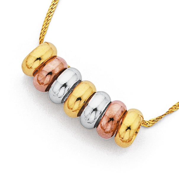 9ct Gold, Tri Tone Medium 7 Lucky Rings on 45cm 9ct Gold, Chain