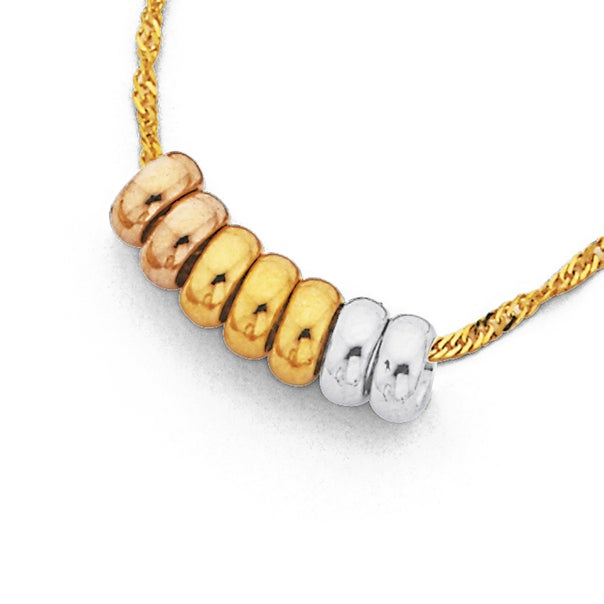 9ct Gold, Tri Tone Mini 7 Lucky Rings on 45cm 9ct Gold, Chain