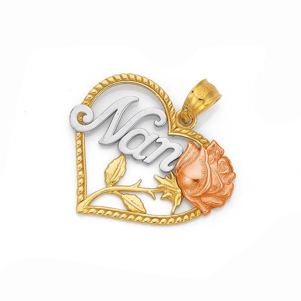 9ct Gold Tri Tone 'Nan' Heart Pendant