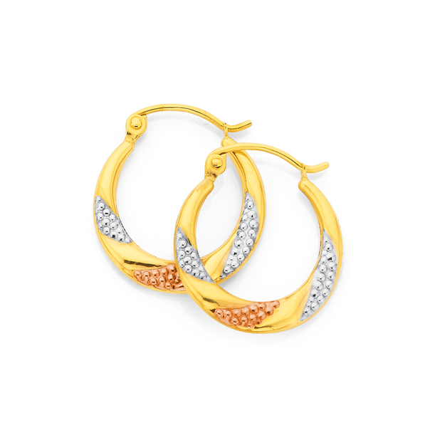 9ct Gold Tri Tone Pleated Creole Earrings