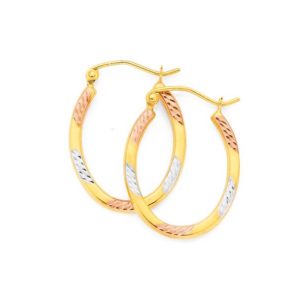 9ct Gold Tri Tone Striped Oval Hoop Earrings