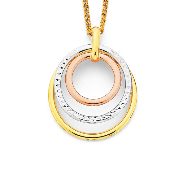 9ct Gold Tri Tone Triple Circle Pendant