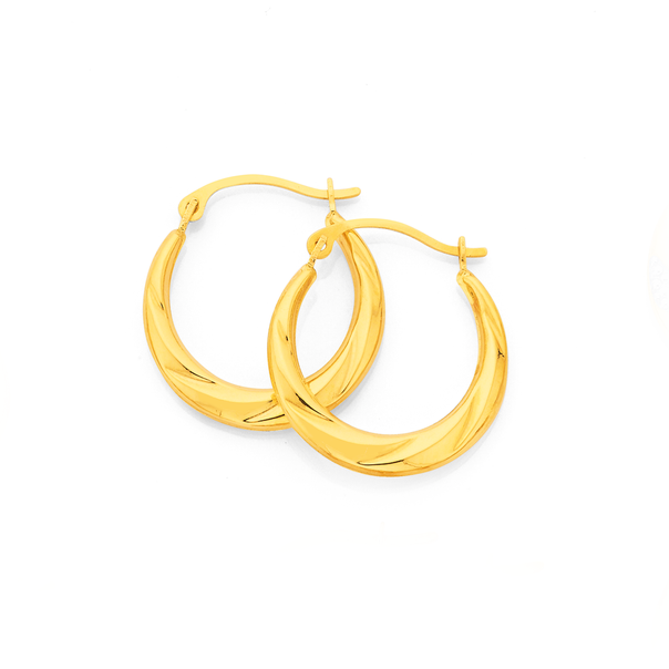 9ct Gold Twist Creole Hoop Earrings