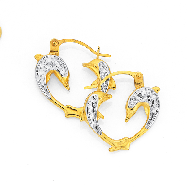 9ct Gold Two Tone 10mm Dolphin Creole Earrings