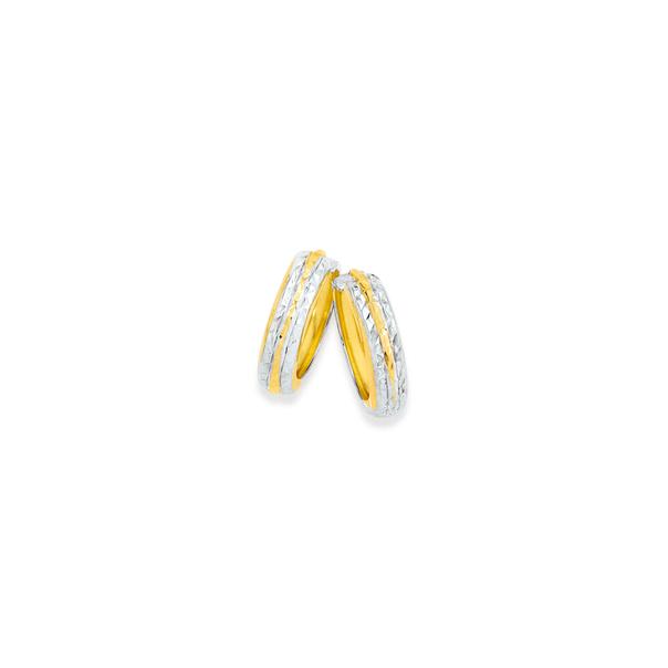9ct Gold Two Tone 10mm Huggie Earrings