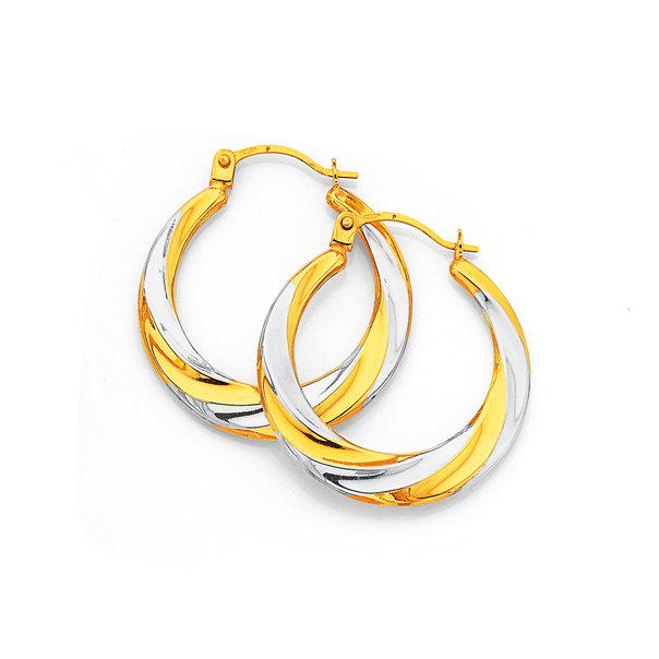 9ct Gold Two Tone 15mm Creole Earrings