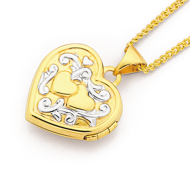9ct Gold Two Tone 15mm Double Heart Locket
