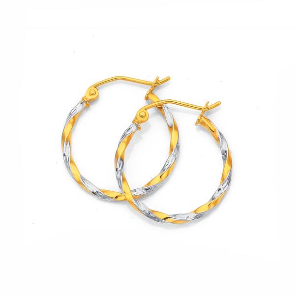 9ct Gold Two Tone 1.8x15mm Twist Hoop Earrings