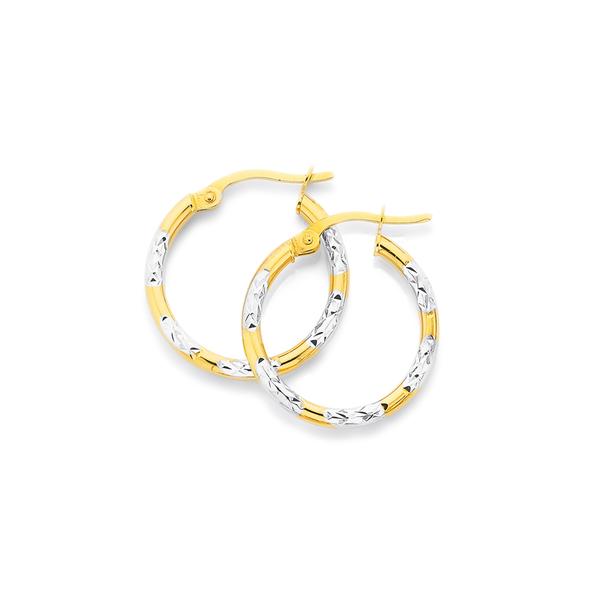 9ct Gold Two Tone 2x15mm Striped Hoop Earrings