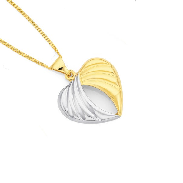 9ct Gold Two Tone  Angel Wings Heart Pendant