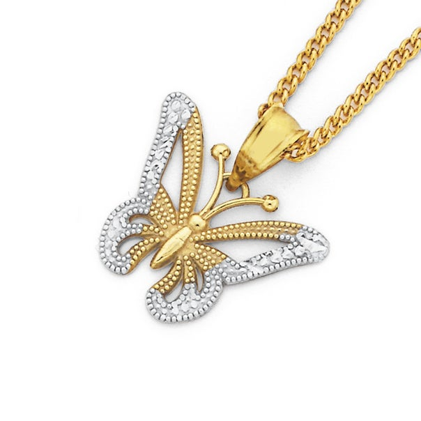 9ct Gold, Two Tone Butterfly Pendant