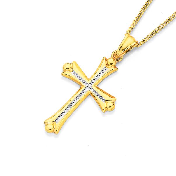 9ct Gold Two Tone Celtic Cross Pendant