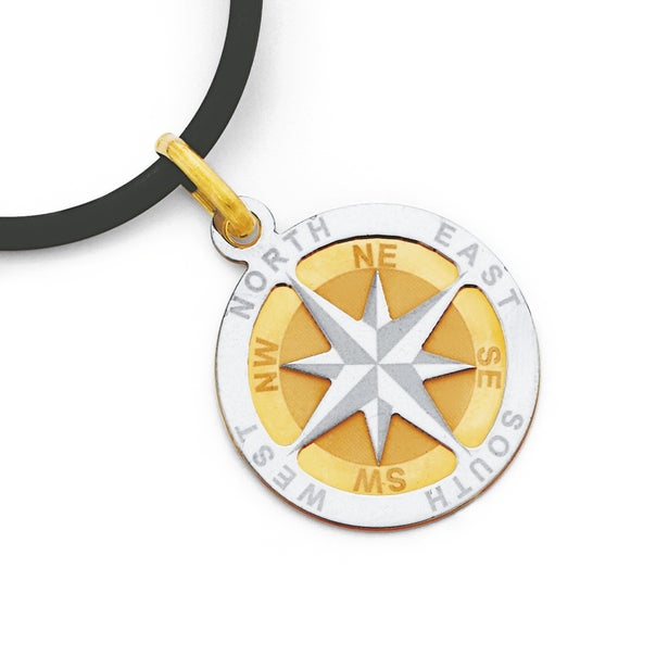 9ct Gold, Two Tone Compass Pendant