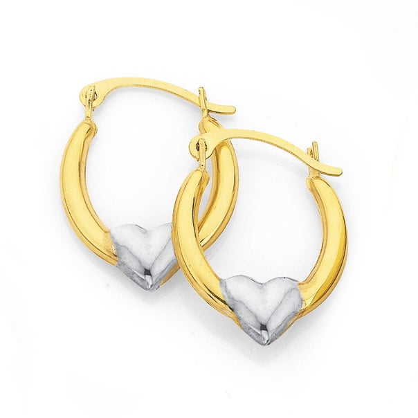 9ct Gold, Two Tone Creole Earrings