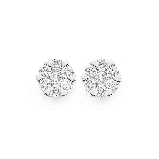 9ct Gold Two Tone Diamond Cluster Stud Earrings