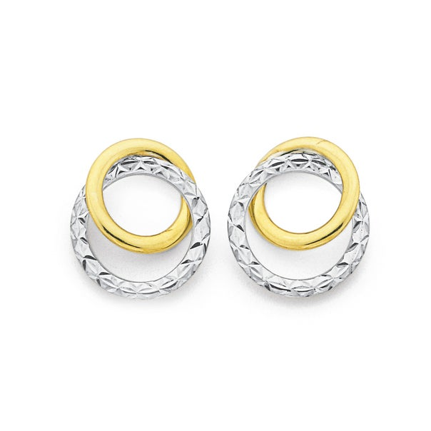 9ct Gold, Two Tone Diamond Cut Double Circle Stud Earrings