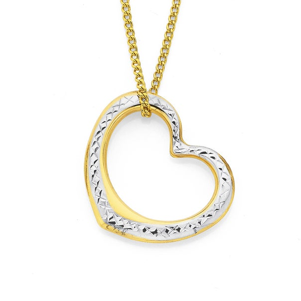 9ct Gold Two Tone Floating Heart Pendant