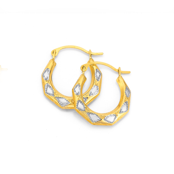 9ct Gold Two Tone Patterned Creole Earrings