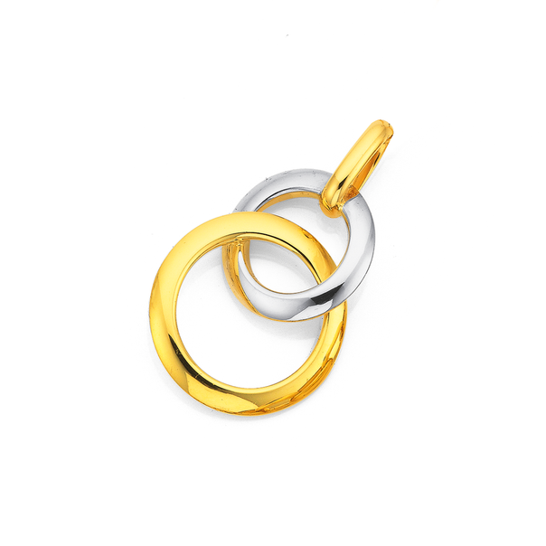 9ct Gold Two Tone Polished Double Circle Pendant