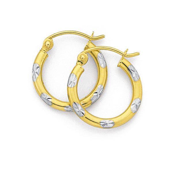 9ct Gold, Two Tone Small Diamond Cut Hoops 10mm