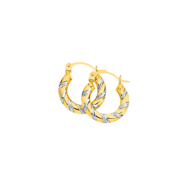 9ct Gold Two Tone Striped Hoop Earrings