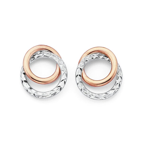 9ct Gold, Two Tone Stud Earrings