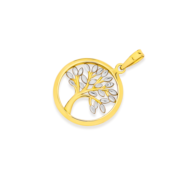 9ct Gold Two Tone Tree of Life Circle Pendant