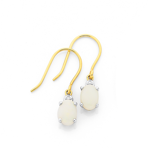 9ct Gold, White Opal and Diamond Earrings