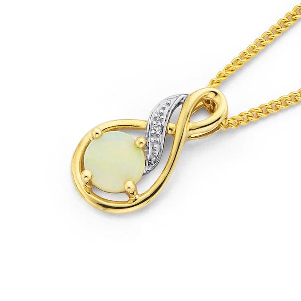 9ct Gold, White Opal and Diamond Pendant