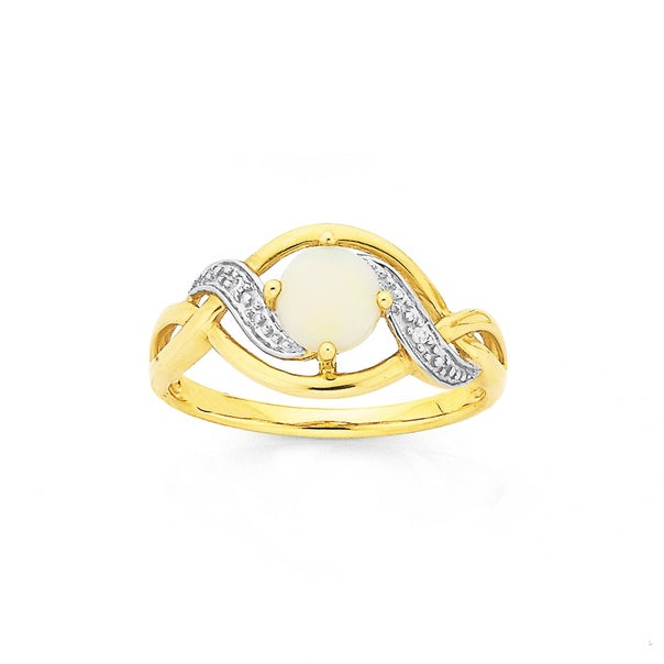 9ct Gold, White Opal and Diamond Ring