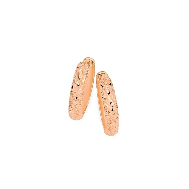 9ct Rose Gold Diamond-cut Huggie Earrings