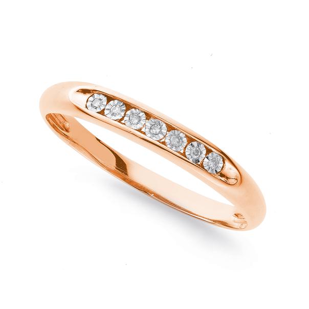 9ct Rose Gold Diamond Set Ring