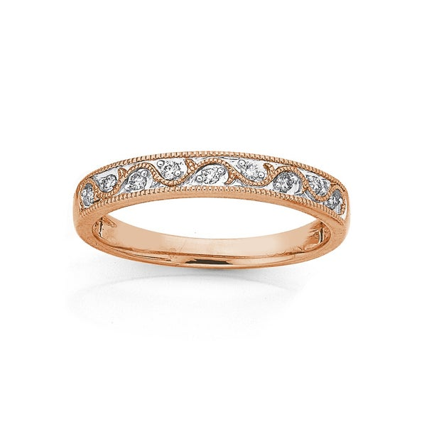9ct Rose Gold Diamond Swirl Band