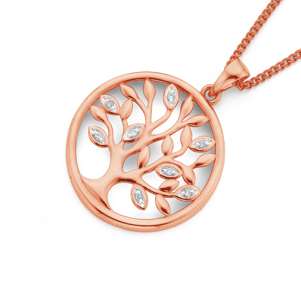 9ct Rose Gold Diamond 'Tree of Life' Pendant