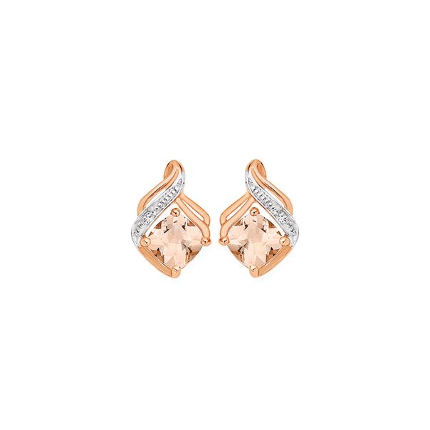 9ct Rose Gold Morganite & Diamond Stud Earrings