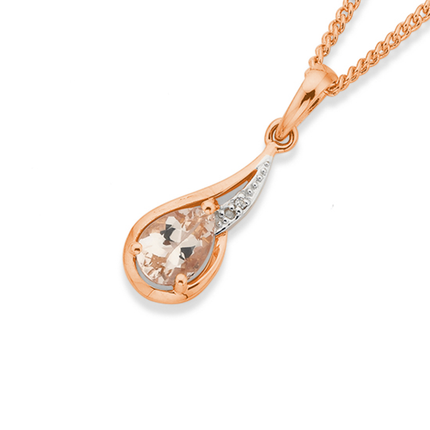 9ct Rose Gold Morganite & Diamond Swirl Pendant