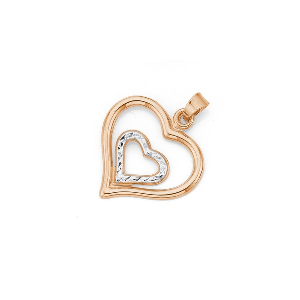 9ct Rose Gold Two Tone Heart in Heart Pendant